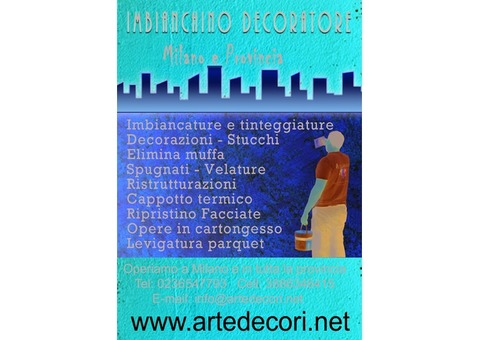 Imbianchino decoratore, trattamenti antimuffa, tinteggiature, decorazioni